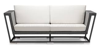 weave modern outdoor patio sofa w white cushions