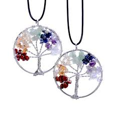 natural stone necklace pendant images Tree of life 7 chakra semi precious stone necklace jpg