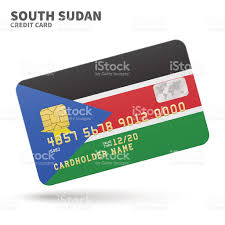 Old Sudan Flag Credit Card With South Sudan Flag Background For Bank