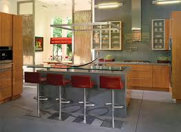 open kitchen ideas with red chairs and hanging cabinet kitchen