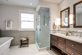 Vanity Framed Mirrors Frosted Glass Shower Doors Bathroom Traditional With Double Vanity