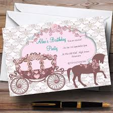 Princess Themed Invitation Card Horse And Carriage Vintage Chic Princess Theme Personalised