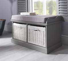 Storage Hallway Bench by Grey Bench With 2 White Storage Baskets
