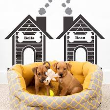 personalised twin dog house wall stickers by snuggledust studios personalised twin dog house wall stickers