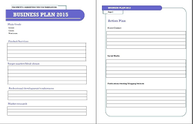 one page business plan template free template idea