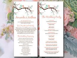 tea length wedding program bird wedding program template tea length program printable
