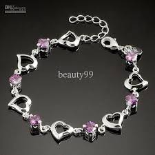 silver bracelet with crystal images 2013 charming women bracelet heart shaped silver bracelet purple jpg