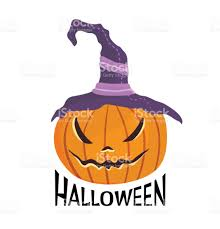 halloween carved pumpkin with witches hat jackolantern vector