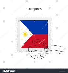 Philippines Flag Philippines Flag Postage Stamp On White Stock Vektorgrafik