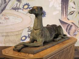 wonderful early 20th cent bronze model of a greyhound garden