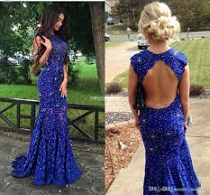 royal blue lace prom dresses sparkly crystals open back sleeveless