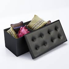 Black Storage Ottoman With Tray Living Room Ottoman Storage Box Ottoman Tray Tufted
