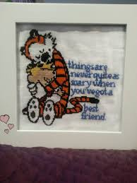 calvin and hobbes cross stitch i did for my boyfriend rebrn