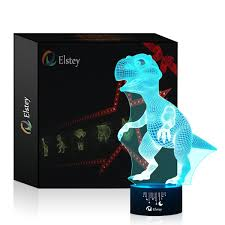 dinosaur 3d night light touch table desk lamp elsley 7 colors 3d