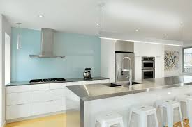 Blue Tile Kitchen Backsplash Kitchen White Chair Hardwood Floor Grey Kitchen Island Pull Down