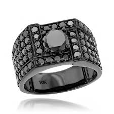 man luxury rings images 10k black plated gold black diamond ring for men 4ct by luxurman jpg