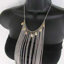 long necklace accessories images Silver metal body chains frontal multi coins long necklace new jpg