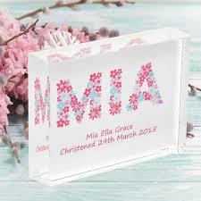 christening gift flowers name personalised flower girl bridesmaid new