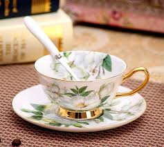 tea cup set 180 ml noble ceramic set of 2 tea cup set with spoon bone china