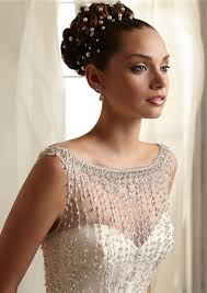 beaded wedding dresses mermaid sheer illusion neckline see through tulle beaded wedding