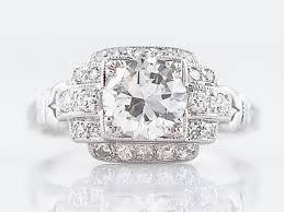 antique engagement ring art deco 99 round brilliant cut diamond