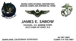Marine Business Cards Photograph Col James Sabow Usmc Calling Card At Col James Sabow