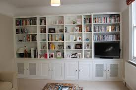 furniture white stained wood built in book cabinet with shelf and