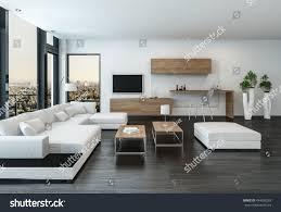 elegant modern white living room interior stock illustration