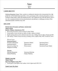 Marketing Resume Objective Sample by Marketing Objective Example 8 Samples In Word Pdf