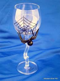halloween wine glass with hand blown glass spider schoppy u0027s