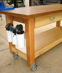 rolling work table plans workbench plans workbenches the family handyman with regard to