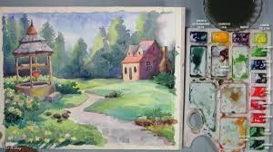 how to paint a house landscape with watercolor episode 4 youtube