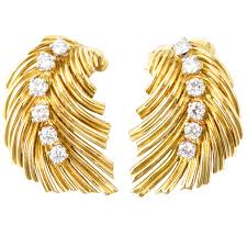 gold clip on earrings cleef and arpels diamond gold leaf clip earrings for sale at