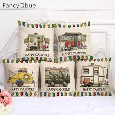 aliexpress com buy fancyqbue happy campers cushion cover home