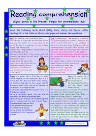 reading comprehension signal words in the present simple tense