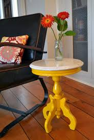 mini accent table ls small painted yellow marble top round side table revived vintage