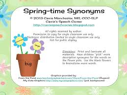 carrie u0027s speech corner spring time synonyms or