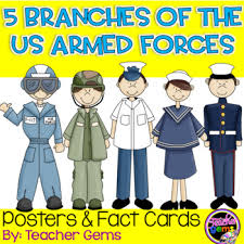 5 branches of the us armed forces posters fact cards by gems