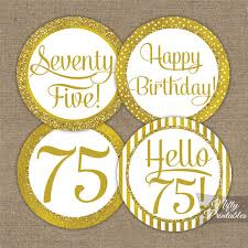 Favors For 75th Birthday by 75th Birthday Cupcake Toppers Gold 75th Birthday Toppers