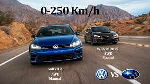 volkswagen wrx battle volkswagen vs subaru golf vii r 300hp vs wrx sti 300hp