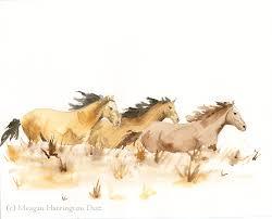 horse art horses running watercolor fine art print animal