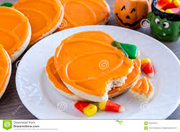 homemade frosted pumpkin sugar cookies stock photo image 61624910