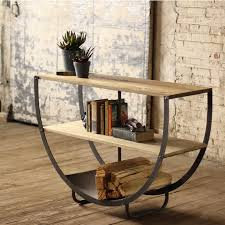 wood and iron sofa table semi circle console with two wooden shelves and metal bottom