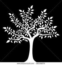 white tree white tree icon on black background stock vector 128306327