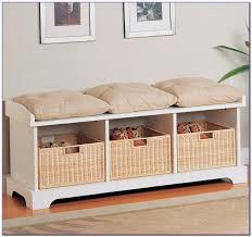 Bench With Storage Baskets by Bench With Wicker Storage Baskets Bench Best Home Design Ideas