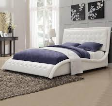 trendy white headboard with tully white queen bed with button