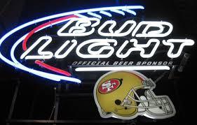 bud light neon light bud light official beer s f 49ers neon sign