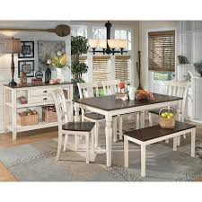 Whitesburg Dining Room Set W Bench Signature Design By Ashley - Dining room chairs and benches