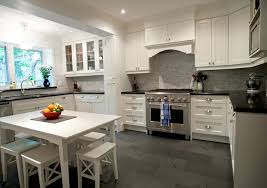 Polished Kitchen Floor Tiles - white dining table and stools transitional kitchen designer