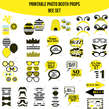 instant download bee white birthday printable photo booth prop set